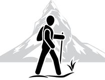 Traveler among the mountains. Icon stock photography
