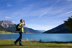 Traveler in mountains Stock Images