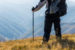 Traveler in the mountains Stock Image