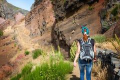 Traveler in mountains Stock Photo