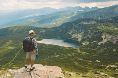 Traveler in the mountains Royalty Free Stock Image
