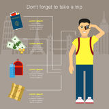Traveler Necessary items in traveling Vector illustration Royalty Free Stock Photography
