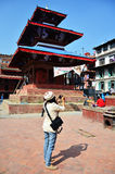 Traveler and nepalese people travel and take photo Basantapur Durbar Square Stock Photo