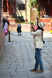 Traveler and nepalese people travel and take photo Basantapur Durbar Square Stock Photography