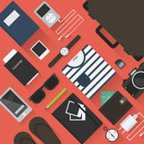 Traveler objects illustration. Summer travel flat  illustration. Set of travel men's stuffs: suitcase / trunk, glasses, watches, passport, phone, player Stock Photo