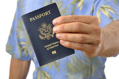 Traveler with passport Royalty Free Stock Image