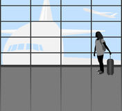 Traveler people scene. Vector silhouette young woman in the Airport lounge transport background Royalty Free Stock Photo