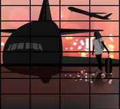Traveler people scene. Vector silhouette young woman in the Airport lounge transport background Royalty Free Stock Photography