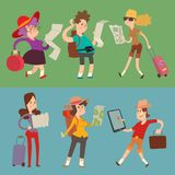 Traveler people searching right direction on map vector traveling freedom and active character lifestyle concept. Traveler people searching right direction on Royalty Free Stock Images