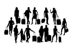 Traveler People Silhouettes,sign and symbol Stock Photo