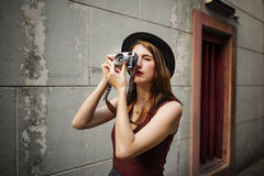 Traveler Photograph Journey Tourist Girl Lady Concept Stock Photo