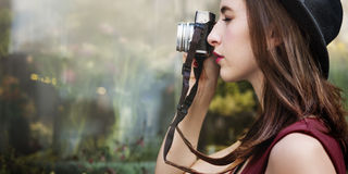 Traveler Photograph Journey Tourist Girl Lady Concept Stock Photography