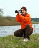 Traveler photographer  taking photo Stock Photo