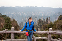 Traveler post for picture took at Zhangjiajie national park, Hunan province, China. Stock Image