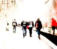 Traveler in railway station, blurred Stock Photo