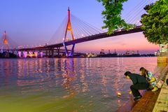 Traveler ready to Loy Kratong Festival at Wat Darn Temple Waterfront Royalty Free Stock Photo