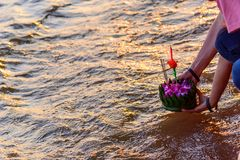Traveler ready to Loy Kratong Festival at Wat Darn Temple Waterfront Stock Photography