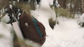Traveler backpack hanging on tree branch in snow covered forest. Traveler red and blue backpack hanging on tree branch in snow covered forest on winter day stock video footage