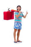 Traveler with red case  and umbrella isolated on Royalty Free Stock Photos