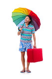 Traveler with red case  and umbrella isolated on Stock Photography