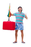Traveler with red case  and umbrella isolated on Royalty Free Stock Images