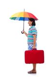 Traveler with red case  and umbrella isolated on Royalty Free Stock Photo