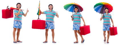 Traveler with red case  and umbrella isolated on white Stock Images