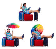 Traveler with red case  and umbrella isolated on white Stock Photography