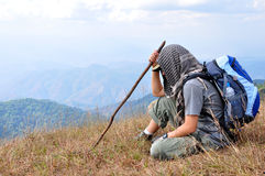 Traveler. Resting during a trip on the mountain Stock Photo