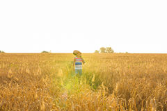 Traveler, romantic travel background, young man leaving home, guy with guitar walking at sunset field Stock Photos