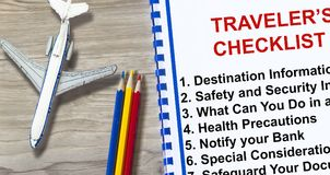 Traveler`s checklist tip for having a flight. Complete with topics on a cover sheet Stock Photos