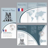 Traveler's guide or banner with a map, watercolors attractions Stock Images