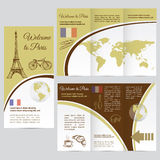Traveler's guide or banner with a map, watercolors attractions Stock Image