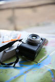 Traveler's kit of camera and map Stock Images