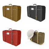 Traveler's suitcase set Stock Photo