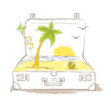 Traveler's suitcase, vacation in the tropics Stock Photography