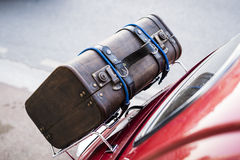 The Traveler's suitcase. Vintage suitcase founded in a vintage car Stock Photo