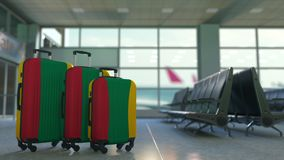 Travel suitcases with flag of Lithuania. Lithuanian tourism conceptual 3D animation. Traveler`s suitcases with flag. Tourism related 3D stock illustration