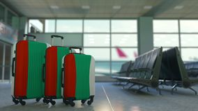 Travel suitcases with flag of Bulgaria. Bulgarian tourism conceptual animation. Traveler`s suitcases with flag. Tourism related 3D stock video
