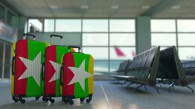 Travel suitcases with flag of Myanmar. Myanma tourism conceptual 3D animation. Traveler`s suitcases with flag. Tourism related 3D vector illustration