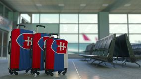 Travel suitcases with flag of Slovakia. Slovak tourism conceptual 3D animation. Traveler`s suitcases with flag. Tourism related 3D royalty free illustration