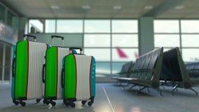 Travel suitcases with flag of Uzbekistan. Uzbek tourism conceptual 3D animation. Traveler`s suitcases with flag. Tourism related 3D vector illustration