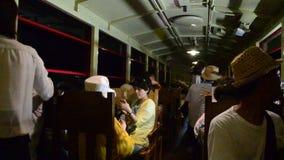 Traveler on Sagano Scenic Railway for looking view of Hozugawa River stock video