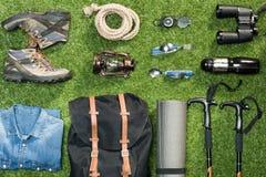 Traveler set on grassy background stock photo