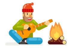 Traveler Sings Plays Guitar Campfire Flat Design isolated Template Vector Illustration Stock Image