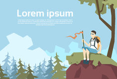 Traveler Sit On Hill Hiker With Rucksack Nature Mountain Background Stock Photography
