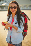 Traveler with snack Royalty Free Stock Photography