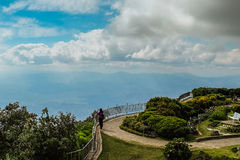 Traveler snap photo. On viewpoint at 'Doi Intanon' Thailand Royalty Free Stock Image