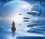 Traveler and Spacecrafts. Exosolar Planets Rise over quiet waters. Man in boat. 3D rendering Stock Image