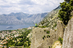 The traveler stands on the ramparts in the old town of Kotor Stock Image